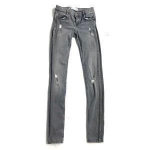 Zara 2 jeans gray light washed distressed skinny